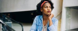 Concerned woman ponders how to rebuild credit