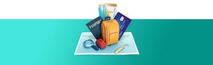 Illustration of map on teal background with travel items, including a passport, a backpack, tickets, magnifying glass and a credit card sitting above