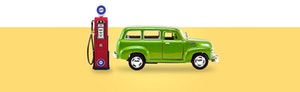 Old-fashioned red gas pump and classic green wagon against a yellow background