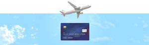 Image of credit card on blue background with airplane flying over the card to symbolize varied credit card perks.