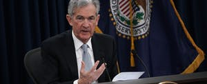 Federal Reserve Board Chairman Jerome Powell at a press conference announcing an interest rate hike on 03/21/2018.