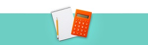 Illustration of spiral notepad, pencil and an orange calculator against a light turquoise background