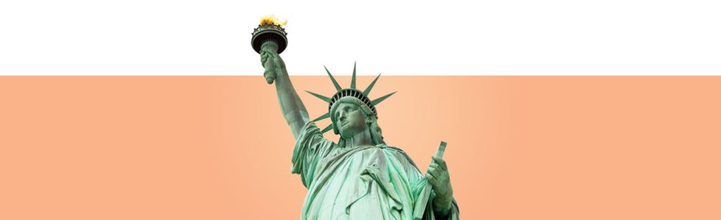 Establishing credit, represented by the Statue of Liberty