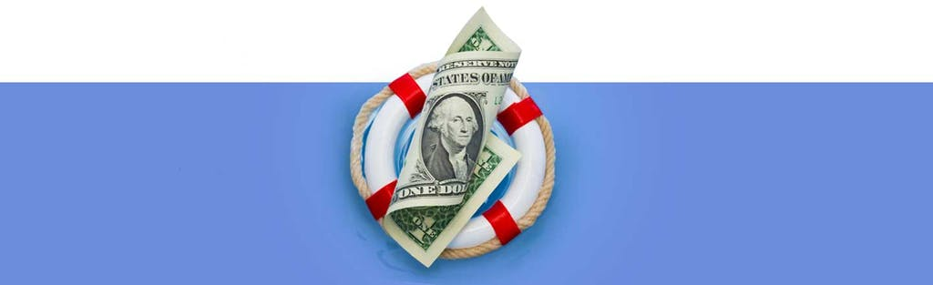 Illustration of rolled-up dollar bill over red and white life preserver, on a blue background