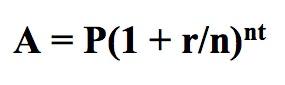 A = P (1 + r / n) nt