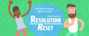 Two illustrated people join in Credit Karma's Resolution Reset Challenge