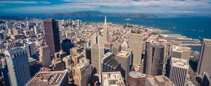 Aerial cityscape view of San Francisco from the Salesforce Tower