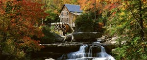 The historic and scenic Glade Creek Grist Mill in West Virginia is decked out in autumn colors.