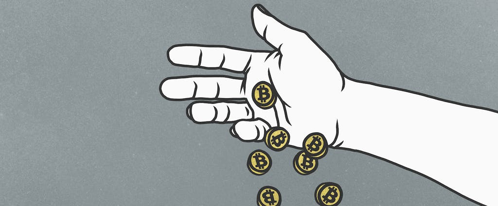 An illustrated hand dropping bitcoin