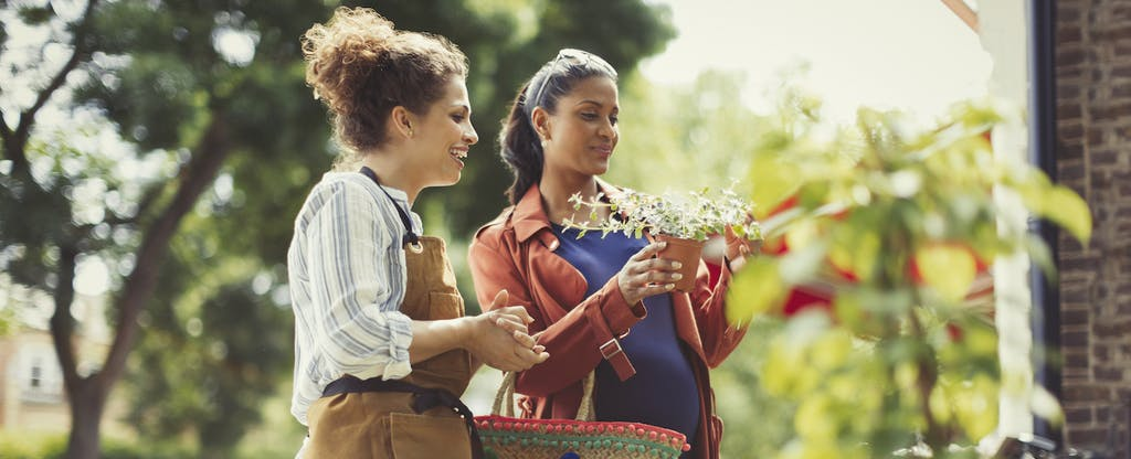 Florist helping a woman pick out some plants to buy
