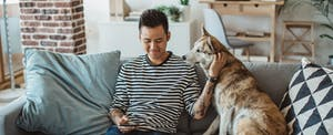 Young man sitting on his couch with his dog, reading on his phone about how to lift a credit freeze