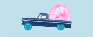 Truck hauling coin to represent coronavirus auto loan relief