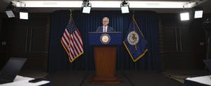 Jerome Powell giving a press conference amid Coronavirus concerns