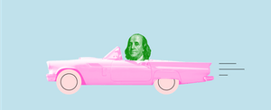 Benjamin Franklin driving convertible to represent auto insurance relief during the coronavirus pandemic
