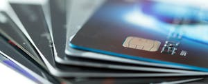 Display of fanned-out credit cards