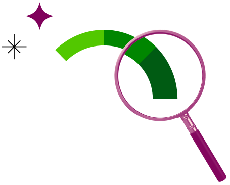 Magnifying glass representing Credit Karma's free credit score and steps to identify ways to increase your credit score