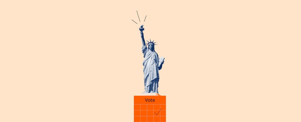 Statue of Liberty illustration with voter registration reminder