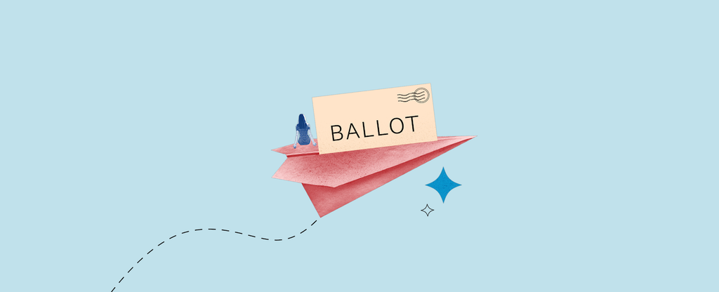 Paper airplane illustration with ballot and requirements to vote