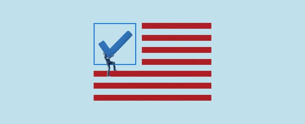 Illustration depicting ease of voting registration with Credit Karma