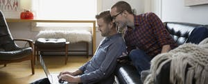Same-sex male couple applying for a home loan online through Rocket Mortgage