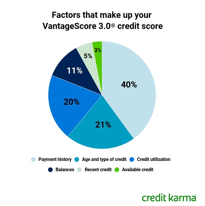 Factors that make up your VantageScore 3.0 credit score.