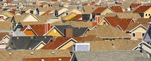 Rooftops in suburban housing development