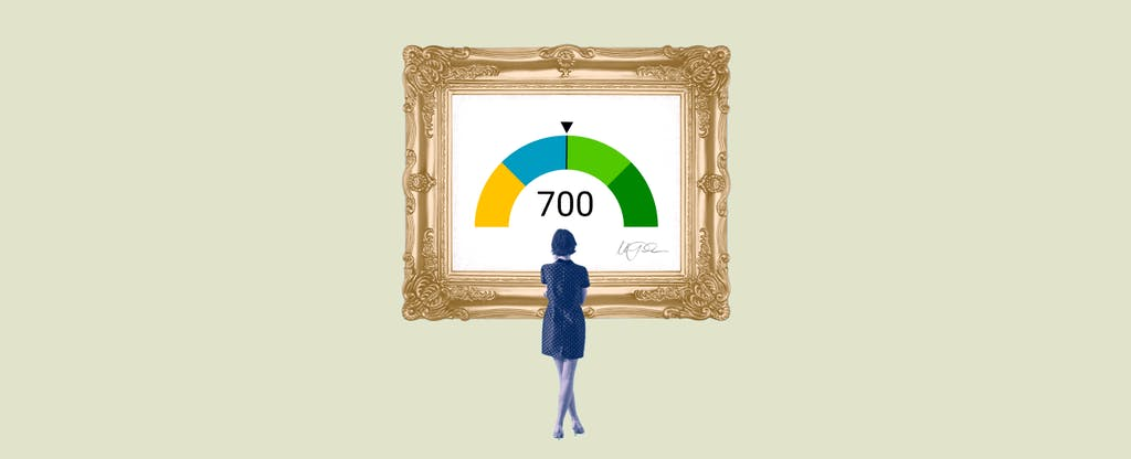 Illustration of a woman looking at a framed image of a 700 credit score.