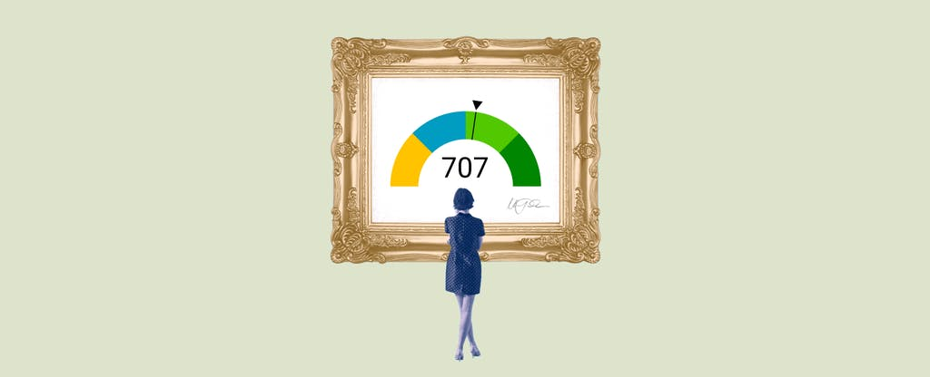 Illustration of a woman looking at a framed image of a 707 credit score.