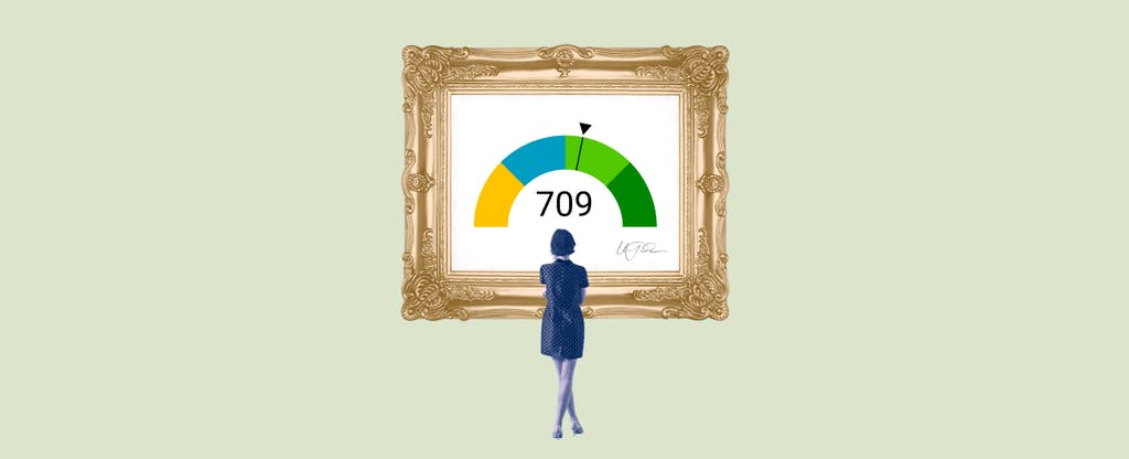 Illustration of a woman looking at a framed image of a 709 credit score.