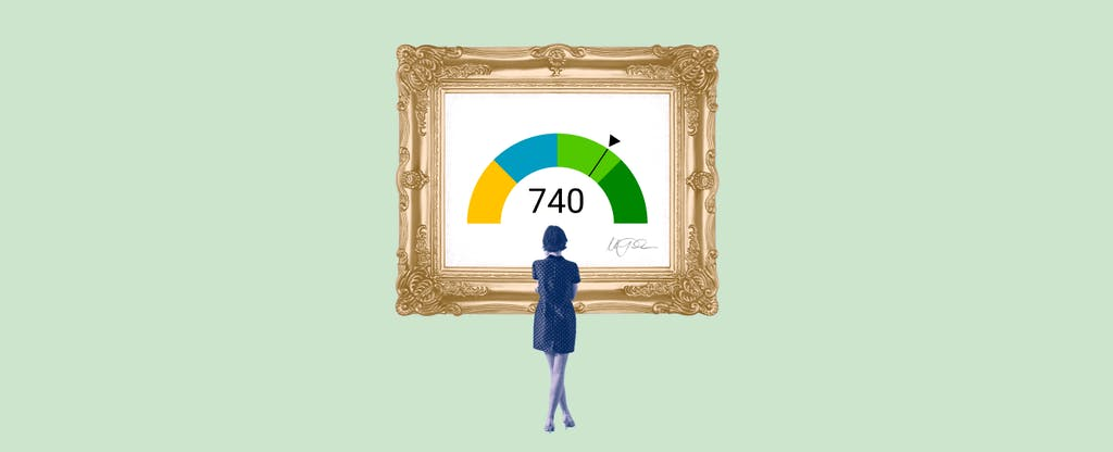 Illustration of a woman looking at a framed image of a 740 credit score.