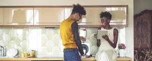 Young people working at home